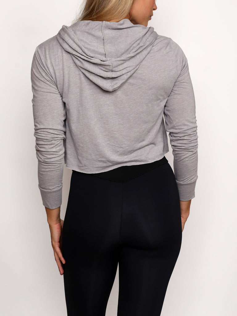 IRIDESCENT LADIES CROP HOODY, GREY