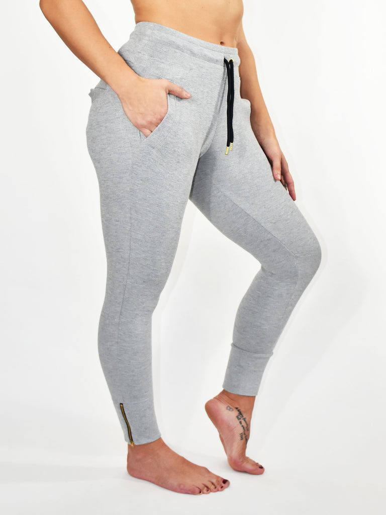 GREY CONTOUR CROP LADIES JOGGER