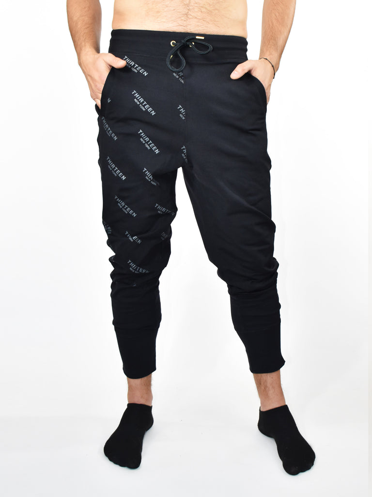 13NY MENS JOGGER, BLACK on BLACK