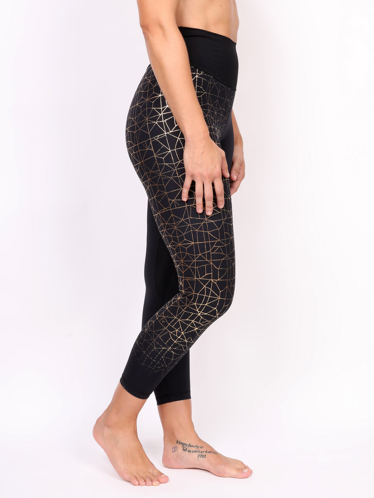 CRACKED LADIES LEGGING, GOLD on BLACK