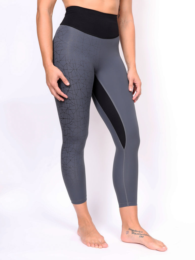 CRACKED LADIES LEGGING, BLACK on GREY