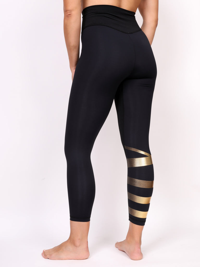 LOGO LADIES LEGGING, GOLD on BLACK