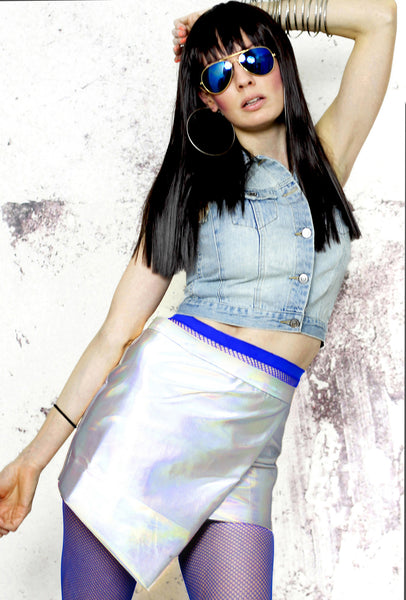 All Nighter A-Symmetrical P.U. Skirt in Holographic Silver - White Raven  Clothing fe36a1fa8