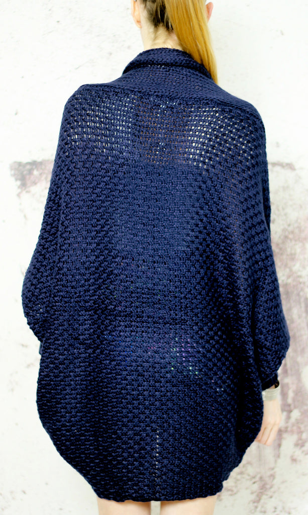 Anything Goes Oversized Batwing Knitted Cardigan in Navy - White Raven  Clothing ... 830bbc42d