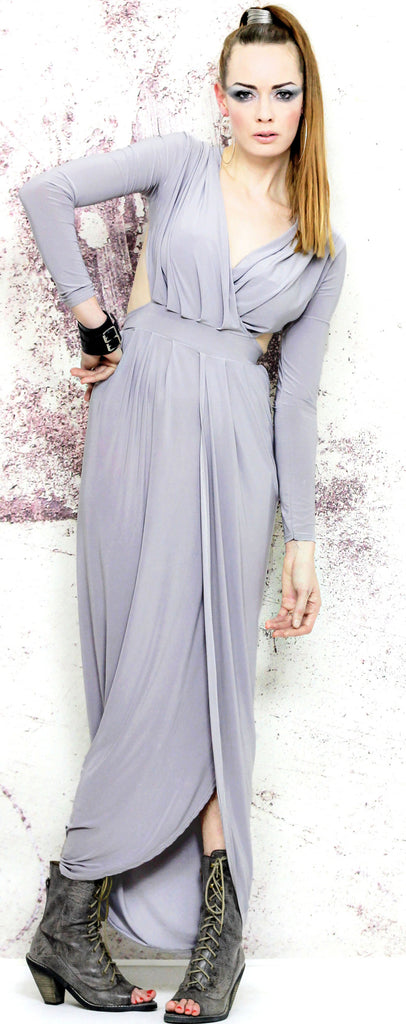 Glamour Goddess Grey Long-Sleeved Maxi Dress with Split Skirt and Cut-Out  Back ... c7fbfa3e4