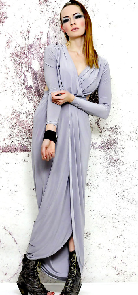 Glamour Goddess Grey Long-Sleeved Maxi Dress with Split Skirt and Cut-Out  Back 3002d7b2b