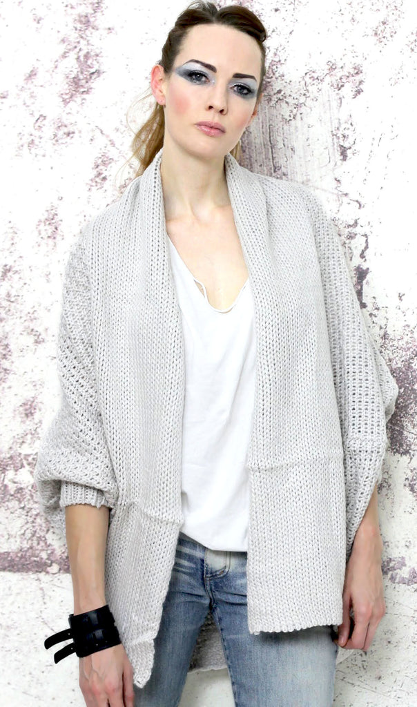 c276d497b369 Anything Goes Oversized Batwing Knitted Cardigan in Stone – White ...