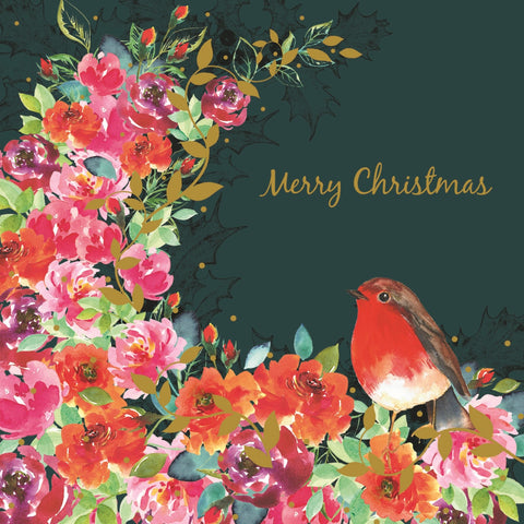Floral Robin Charity Christmas Cards