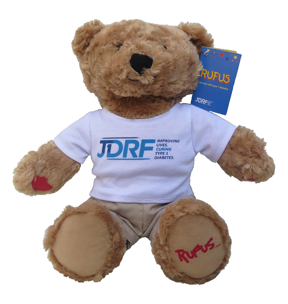Rufus the bear with type 1 diabetes. Plush toy bear.