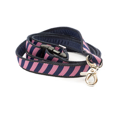 Pink Repp Dog Leash - Navy Webbing