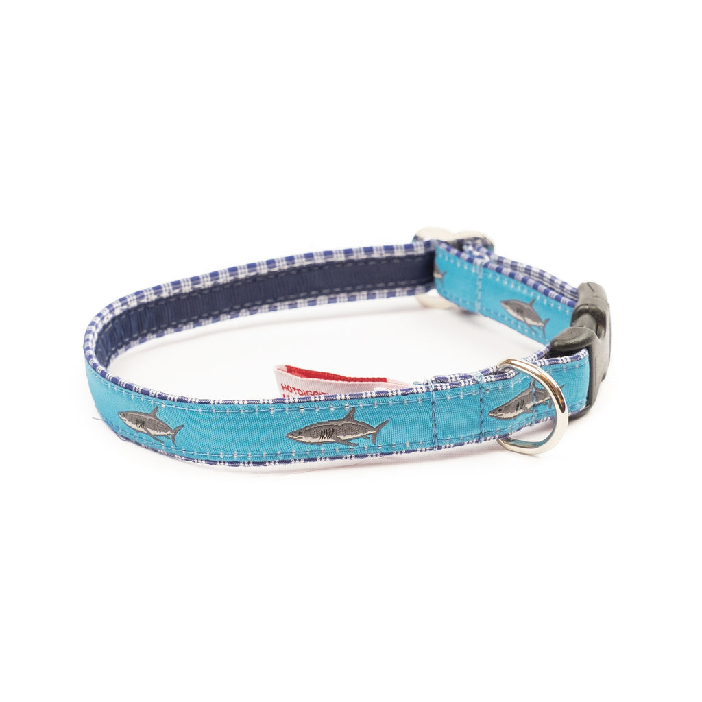 Great White Shark Dog Collar - Navy Plaid