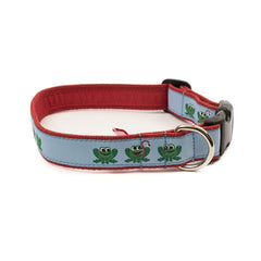 Frog Dog Collar - Red Webbing