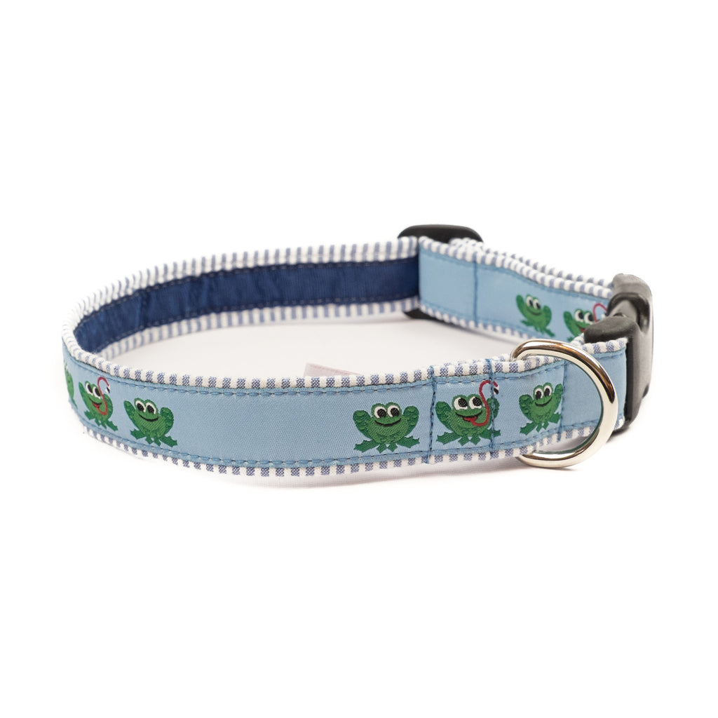 Frog Dog Collar - Blue Seersucker