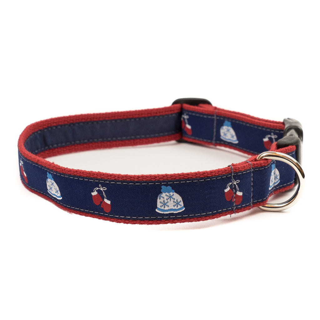 Hats and Mittens Dog Collar - Red Webbing