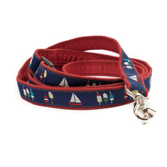 Boats & Buoys Dog Leash - Red Webbing