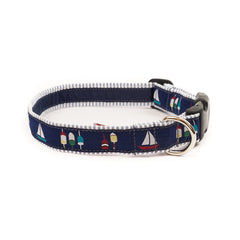 Boats & Buoys Dog Collar - Blue Seersucker