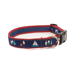 Boats & Buoys Dog Collar - Red Webbing