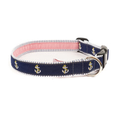 Anchor Dog Collar - Blue Seersucker