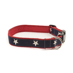 North Star Dog Collar - Red Webbing