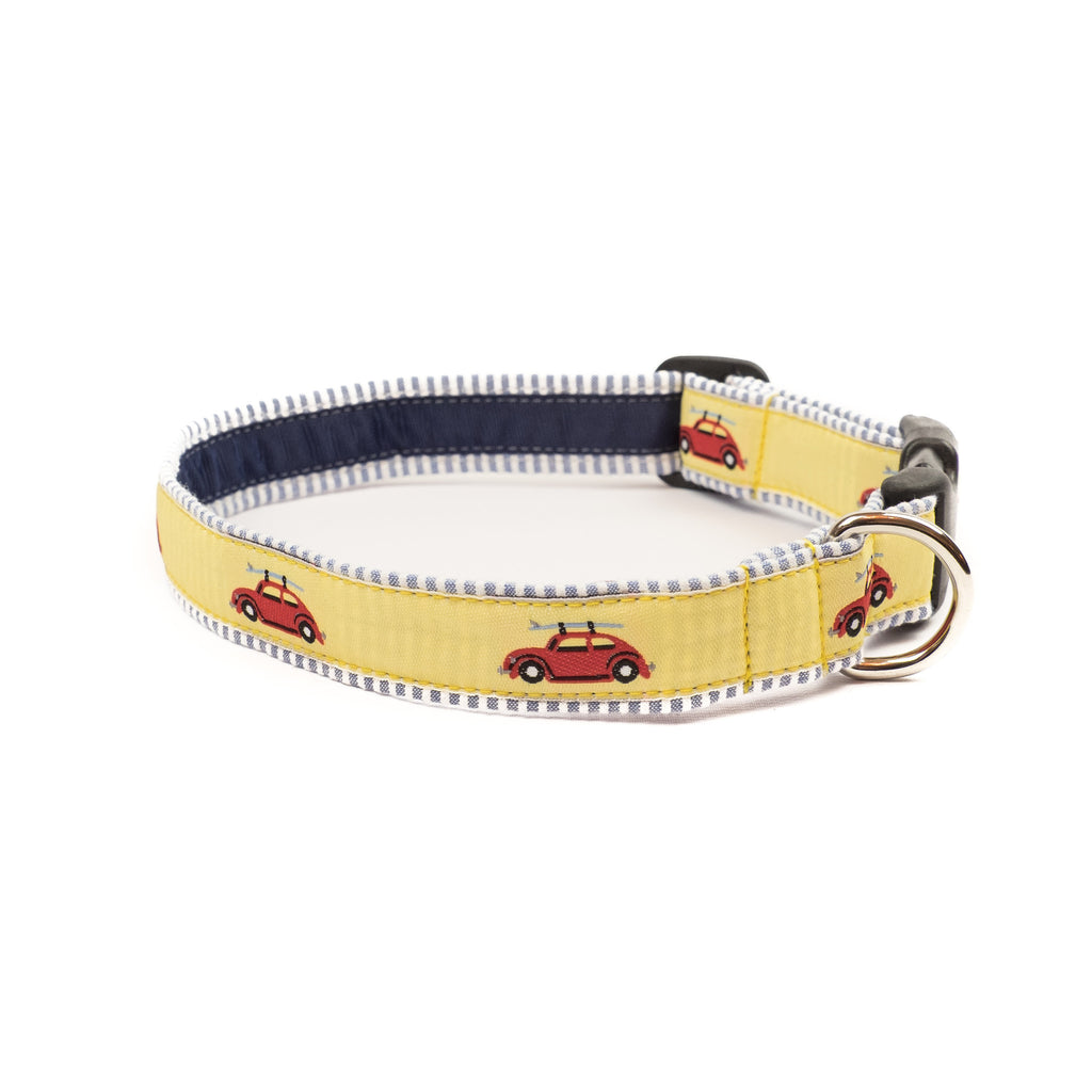 VW Bug Dog Collar - Blue Seersucker