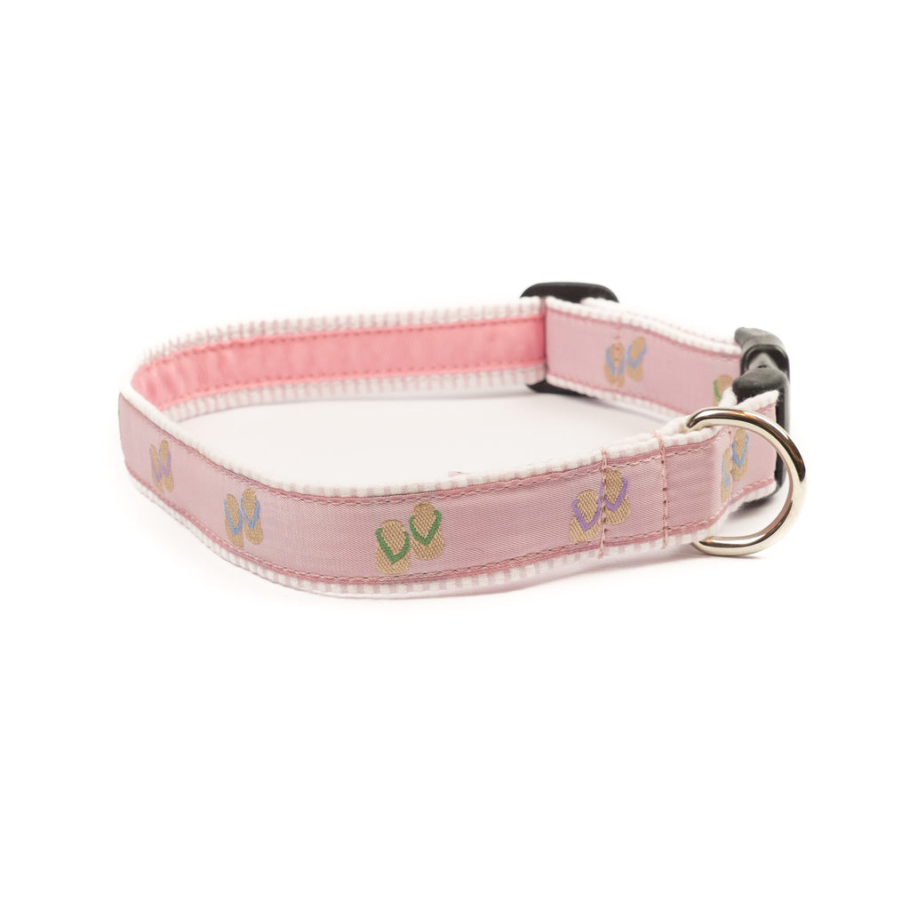 Flip Flops Dog Collar - Pink Seersucker
