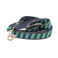Green Repp Dog Leash - Navy Webbing