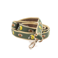 Green Football Dog Leash - Tan Webbing