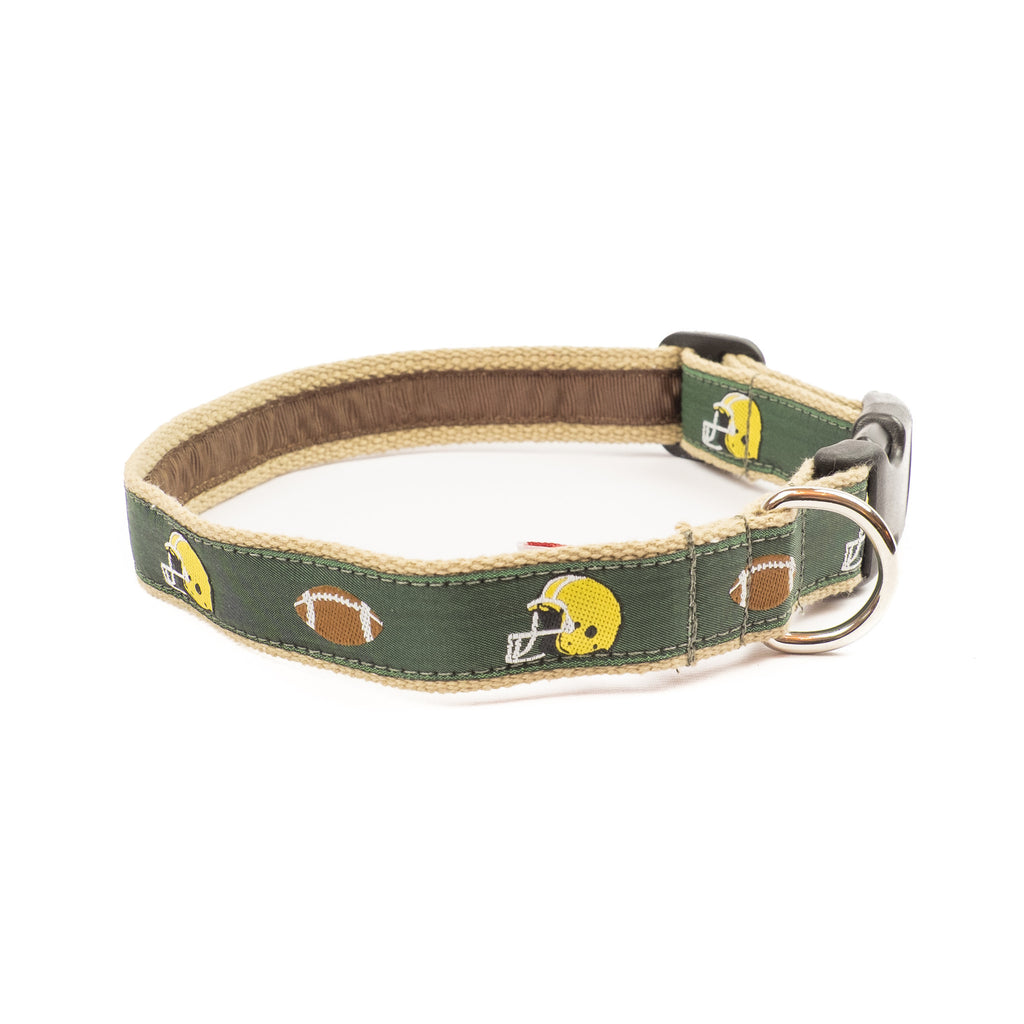 Green Football Dog Collar - Tan Webbing