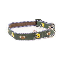 Green Football Dog Collar - Navy Plaid