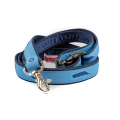 Nantucket Whales Dog Leash - Navy Webbing