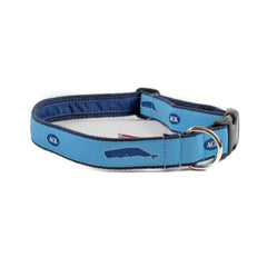 Nantucket Whales Dog Collar - Navy Webbing