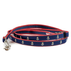 Anchor Dog Leash - Red Webbing