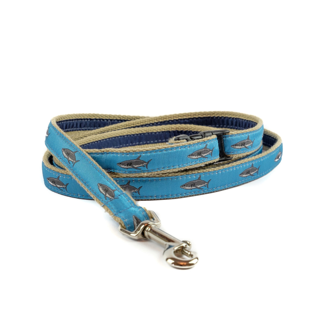 Great White Shark Dog Leash - Tan Webbing