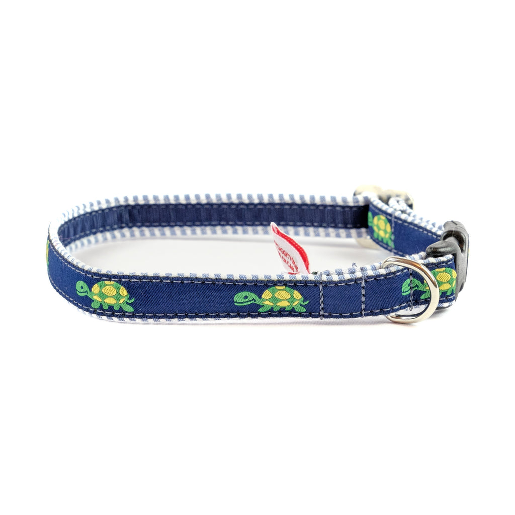 Turtle Dog Collar - Blue Seersucker