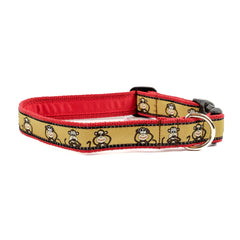 Monkey Dog Collar - Red Webbing