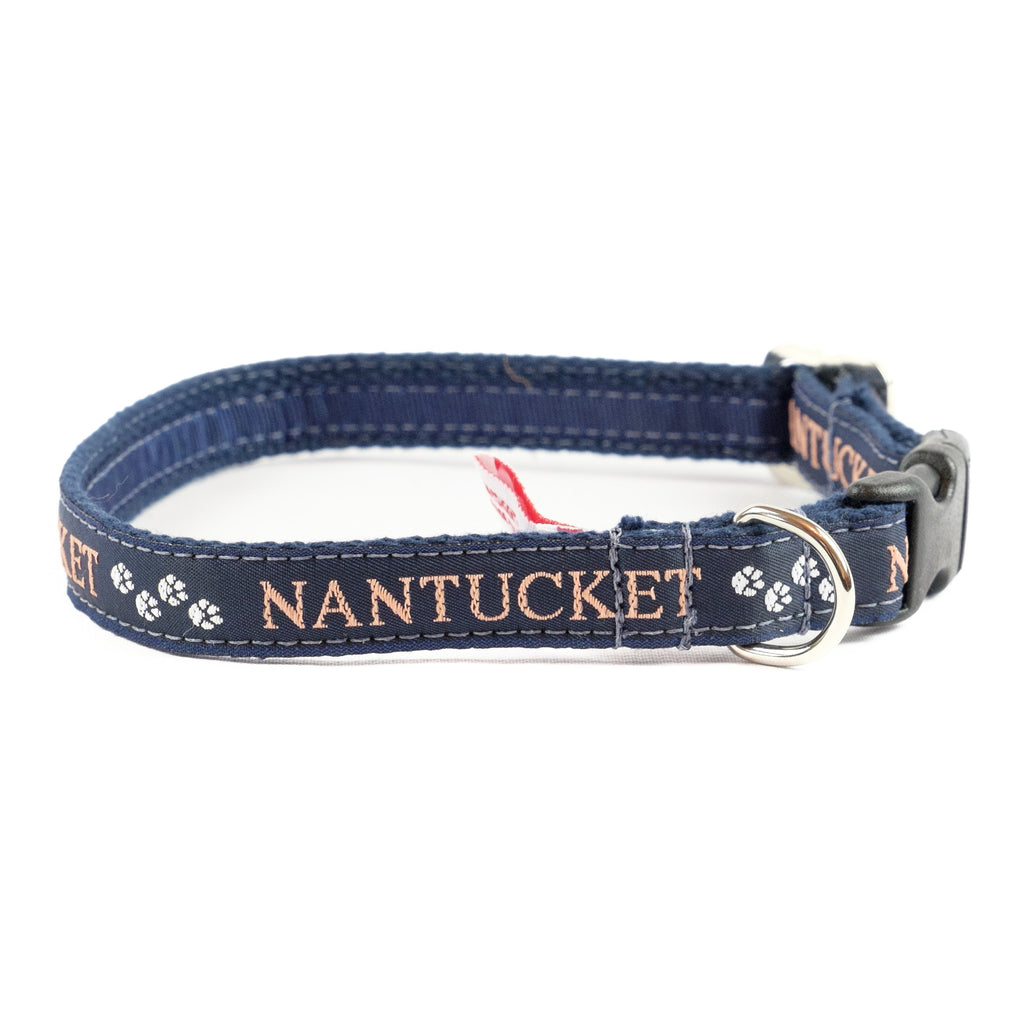 Nantucket Paws Dog Collar - Navy Webbing