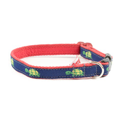 Turtle Dog Collar - Red Webbing