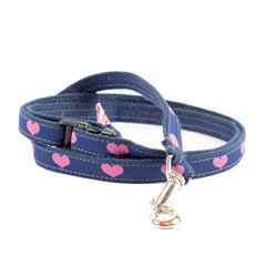 Pink Hearts Dog Leash 5/8""