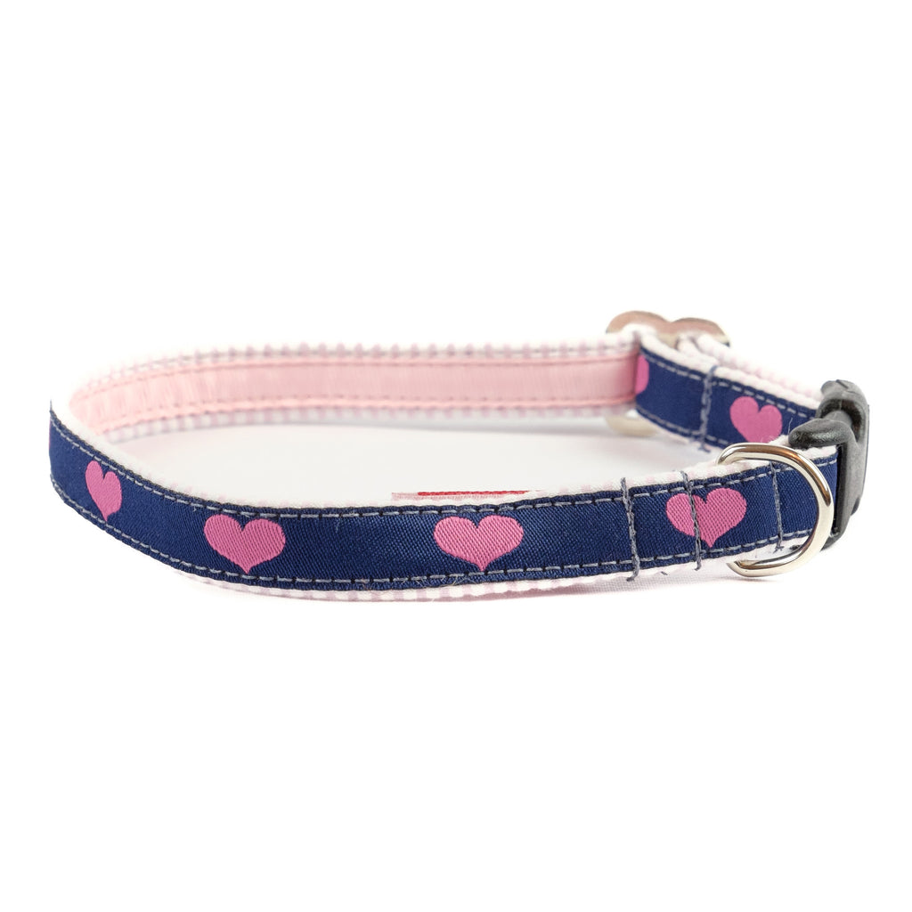 Heart Dog Collar - Pink Seersucker