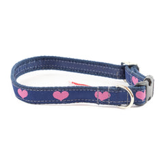 Heart Dog Collar - Navy Webbing