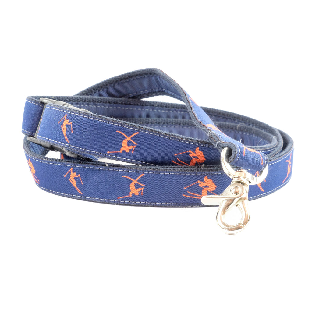 Orange Skiers Dog Leash - Navy Webbing
