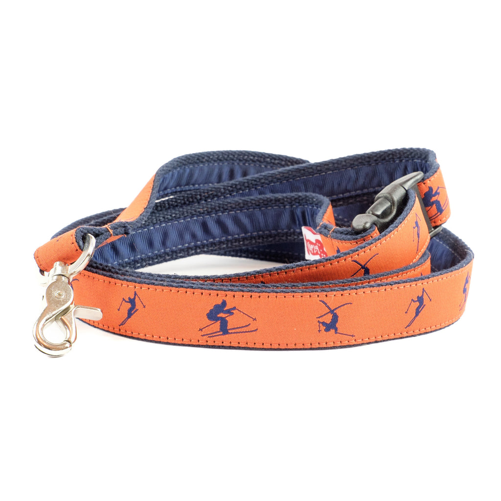 Blue Skiers Dog Leash - Navy Webbing