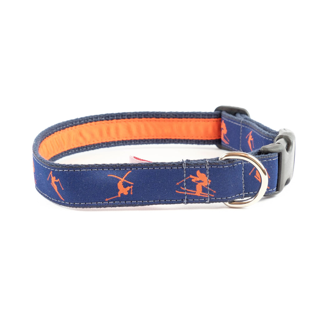 Orange Skiers Dog Collar - Navy Webbing