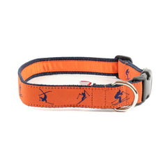 Blue Skiers Dog Collar - Navy Webbing