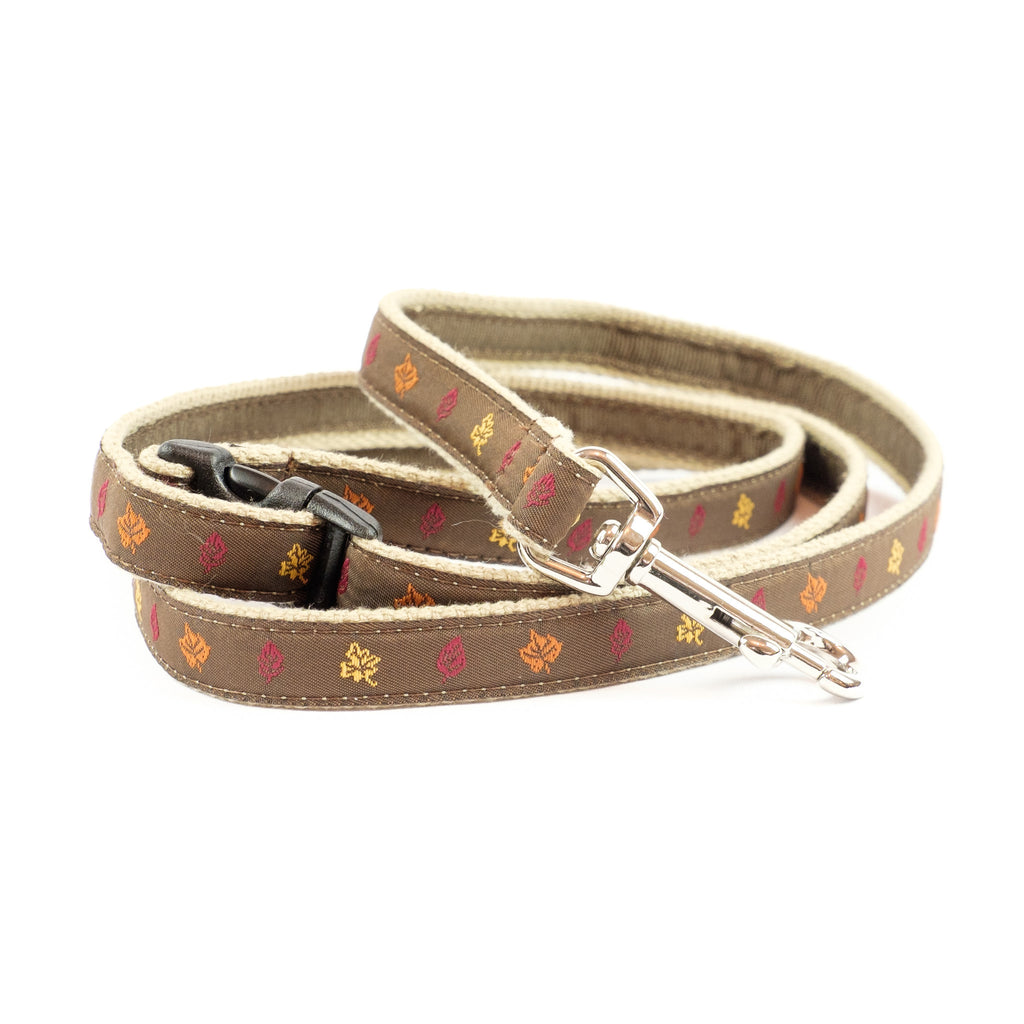 Fall Leaves Dog Leash - Tan Webbing
