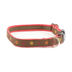 Fall Leaves Dog Collar - Red Webbing