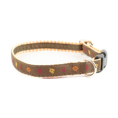 Fall Leaves Dog Collar - Orange Gingham