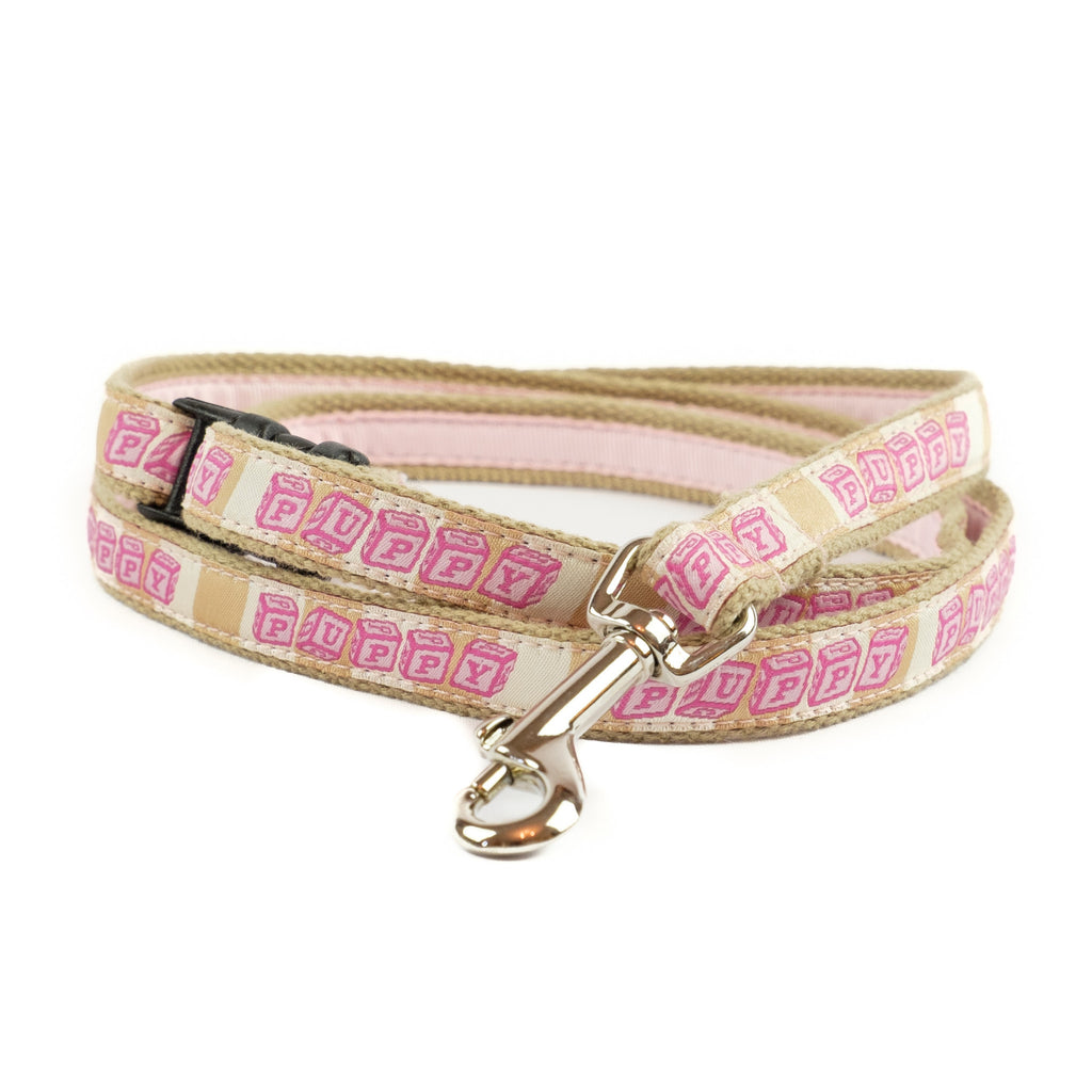 Pink Puppy Dog Leash - Tan Webbing