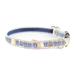 Blue Puppy Dog Collar - Blue Seersucker