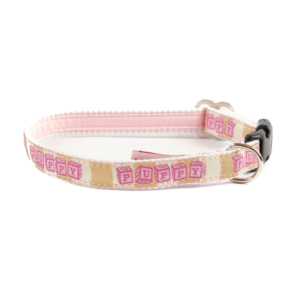 Pink Puppy Dog Collar - Pink Seersucker